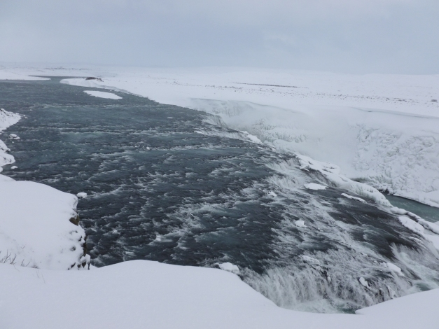 The flow of water that feeds into Gullfoss.
